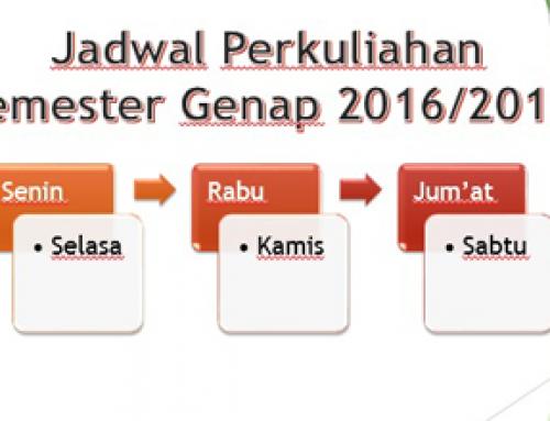 Jadwal Kuliah Semester Genap T.A. 2016/2017