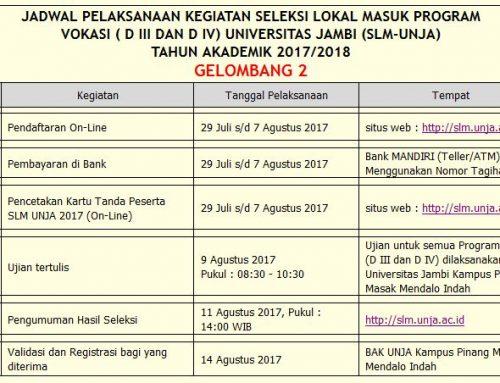 PMB SLM Program Vokasi DIII dan DIV Universitas Jambi Gelombang 2